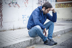 Sad man street Royalty Free Stock Image