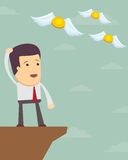 Sad man in  suit see off  flying away money. Businessman or manager. A sad man in a suit see off a flying away money. Illustration, vector Stock Photos