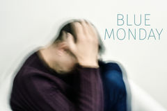 Sad man and text blue monday Stock Photography