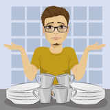 Sad man throws up his hands because of dirty dishes pile needing washing up royalty free illustration