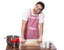 Sad man try to cooking Royalty Free Stock Image