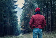Sad man walking by forest Stock Photo