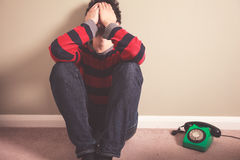 Free Sad Man With Telephone Royalty Free Stock Images - 39729789