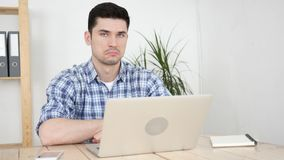 Sad Man at Work Man Rejecting Deal, Disappointment. High quality Royalty Free Stock Images