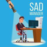 Sad Manager, Businessman Vector. Sitting At The Workplace.. Falling Concept. Failure, Financial Debt. Flashlight And Hand. Flat Stock Photography