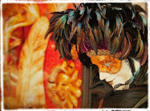 Sad mask. Old venetian mask- picture in retro style Stock Photo