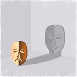Sad mask casting shadow of happy face Stock Photo