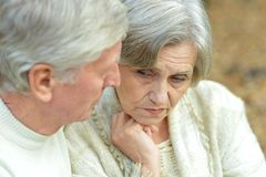 Sad mature couple Royalty Free Stock Photos