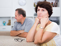 Sad mature woman experiencing family problems Stock Photography