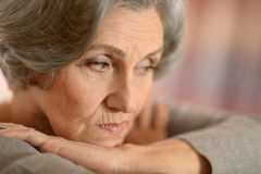 Sad mature woman Royalty Free Stock Images