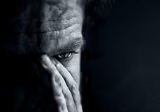 Sad men. Black and white portrait of sad men Royalty Free Stock Photos
