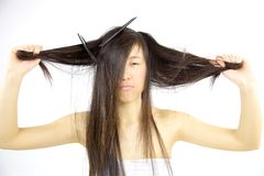 Sad messy asian hair Royalty Free Stock Images