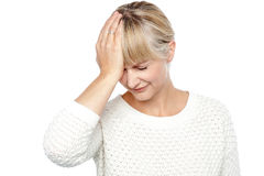 Sad middle aged woman suffering from headache Royalty Free Stock Photo