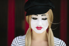 Sad mime with black hat Stock Image