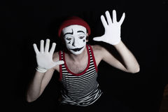 Sad mime on black Royalty Free Stock Photography