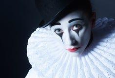Sad mime Pierrot, closeup portrait royalty free stock photo