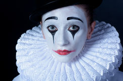 Sad mime Pierrot, closeup portrait royalty free stock image