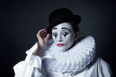 Sad mime Pierrot Stock Images