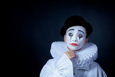 Sad mime Pierrot Stock Photos