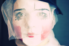 Sad mime in a veil Royalty Free Stock Image