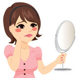 Sad Mirror Woman Stock Photo
