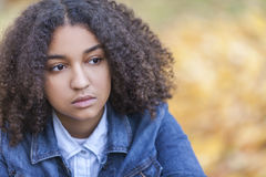 Sad Mixed Race African American Teenager Woman Royalty Free Stock Images