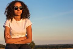 Sad Mixed Race African American Teenager Woman Sunglasses Royalty Free Stock Image