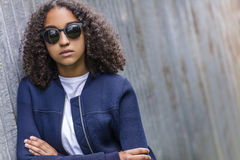 Sad Mixed Race African American Teenager Woman In Sunglasses Stock Images