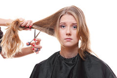 Sad model in hairdressing salon Royalty Free Stock Image