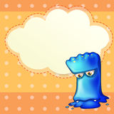 A sad monster with an empty cloud template Stock Image