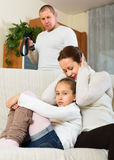 Sad mother comforting daughter Stock Photography