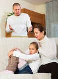 Sad mother comforting daughter Stock Images