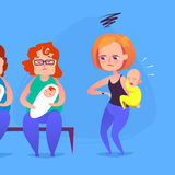 Sad mother with a crying child in a queue. Vector illustration. Royalty Free Stock Images