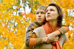 Sad mother with a son Royalty Free Stock Image