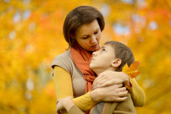 Sad mother with a son Royalty Free Stock Images