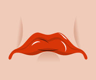Sad mouth. Sorrowful red lips on white background. Tragic emotions Stock Photography