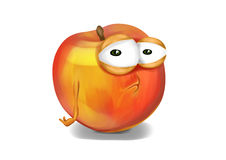 Sad nectarine, a disappointed cartoon character Stock Photos