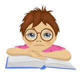 Sad nerd schoolboy keeping his arms on open book. On white background Stock Photography