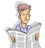 Sad news in newspaper. Man is reading sad news in newspaper white background Royalty Free Illustration