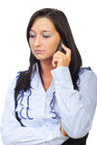 Sad news by phone mobile. Woman talking by phone mobile and receiving bad news isolated on white background,check also Business people Royalty Free Stock Photography