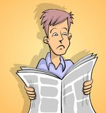 Sad news yellow. Man is reading sad news in newspaper yellow background Vector Illustration