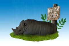 SAD noshörning Fotografering för Bildbyråer