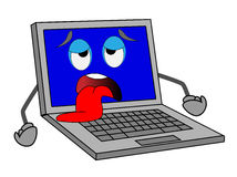 Sad notebook with blue screen put out a tongue Royalty Free Stock Image
