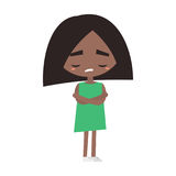 Sad offended black girl cartoon illustration. Vector flat image Stock Photos