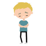 Sad offended blond boy cartoon illustration. Vector flat  image Stock Images
