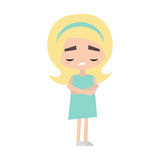 Sad offended blonde girl cartoon illustration. Vector flat image Royalty Free Stock Image