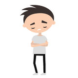 Sad offended boy cartoon illustration. Vector flat editable image Royalty Free Stock Photos