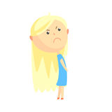 Sad offended cartoon blonde girl, colorful character vector Illustration. Isolated on a white background Royalty Free Stock Photography