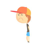 Sad offended cartoon boy standing, colorful character vector Illustration. Isolated on a white background Stock Photo