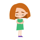 Sad offended girl with read hair cartoon illustration. Vector flat image Royalty Free Stock Images